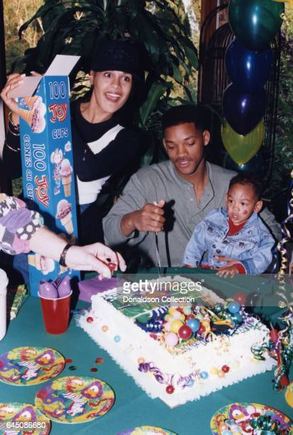 Will Smith and his wife Sheree Zampino hold their son Trey Smith at his second birthday party on November 14, 1992 in Los Angeles, California .