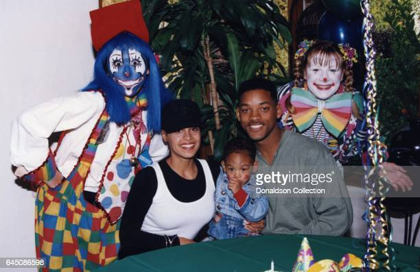 Will Smith and his wifeSheree Zampino hold their son Trey Smith while clowns look on at his second birthday party on November 14, 1992 in Los...