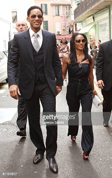 Will Smith and Jada Pinkett Smith arrive at the Olympia Theatre for a private screening at the Cannes Film Festival May 17 2008 in Cannes France