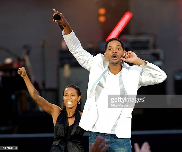 Will Smith and Jada Pinkett Smith at the 46664 Concert part of Nelson Mandela's 90th birthday celebrations in Hyde Park London on 27 June 2008