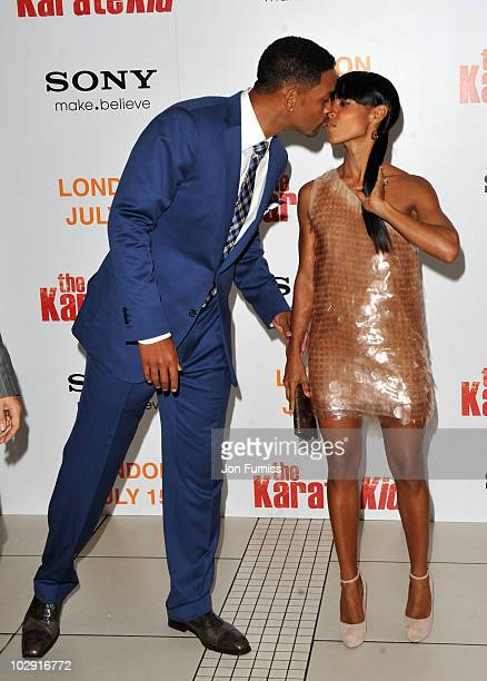 Will Smith and Jada Pinkett Smith attend the Gala Premiere of 'The Karate Kid' at Odeon Leicester Square on July 15, 2010 in London, England.
