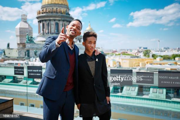 Will Smith and Jaden Smith attend a photocall to promote their new film 'After Earth' at the W Hotel on May 28 2013 in SaintPetersburg Russia