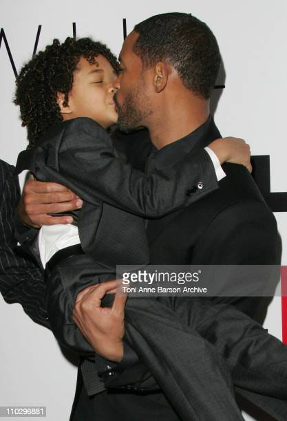 Will Smith and Jaden Smith during The Pursuit of Happyness Paris Premiere at UGC Normandy in Paris France
