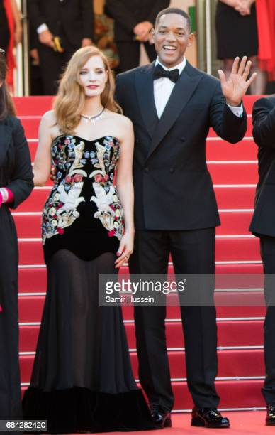 Will Smith and Jessica Chastain attend the 'Ismael's Ghosts ' screening and Opening Gala during the 70th annual Cannes Film Festival at Palais des...