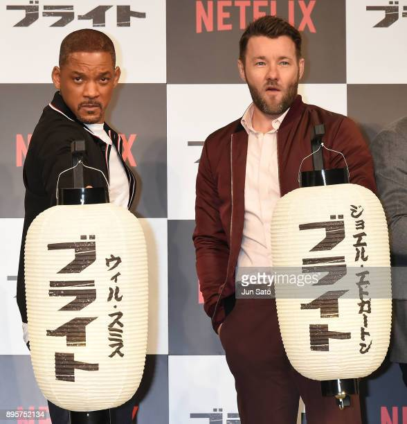 Will Smith and Joel Edgerton attend the press conference for 'Bright' at the RitzCarlton on December 20 2017 in Tokyo Japan
