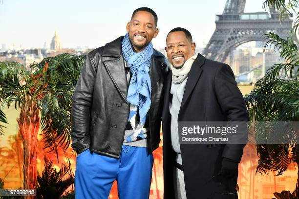 Will Smith and Martin Lawrence attend the Bad Boys For Life photocall at Terrasse Du Cafe de l'Hommeon January 06 2020 in Paris France