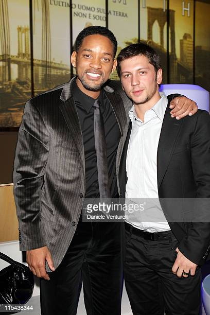 Will Smith and Michele Malenotti attend the Belstaff after party for I Am Legend at Roof Palazzo delle Esposizioni on January 9 2008 in Rome Italy