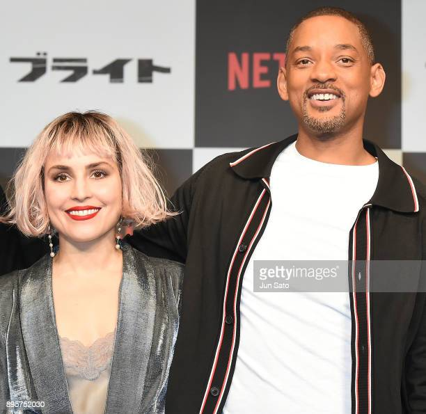 Will Smith and Noomi Rapace attend the press conference for 'Bright' at the RitzCarlton on December 20 2017 in Tokyo Japan