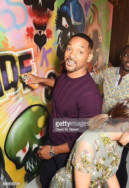 Will Smith and the cast of 'Suicide Squad' put the finishing touches on Graffiti artist Ryan Meades' mural ahead of tomorrow's film release on August...