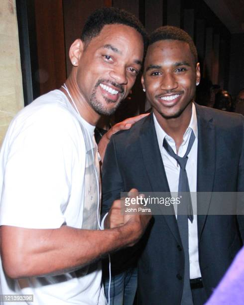 Will Smith and Trey Songz attend The Moet Rose Lounge in Miami to Benifit Trey Songz charity Angels with Hearts at on August 18, 2011 in Miami Beach,...
