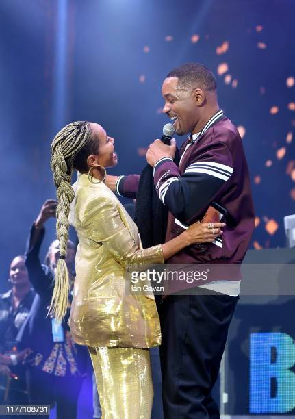 Will Smith and wife Jada Pinkett Smith on stage during the Paramount Pictures Skydance and Jerry Bruckheimer Films Gemini Man Budapest concert at St...
