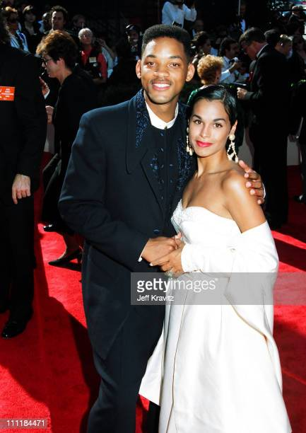 Will Smith and wife Sheree Smith during 1993 Emmy Awards Arrivals in Los Angeles, California.