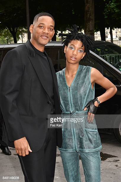 Will Smith and Willow Smith attend the Chanel show during Paris Fashion Week Haute Couture Fall/Winter 20162017 on July 5 2016 in Paris France