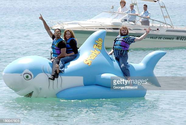 Will Smith Angelina Jolie and Jack Black during 2004 Cannes Film Festival 'Shark Tale' Photocall at Carlton Beach Pier in Cannes France