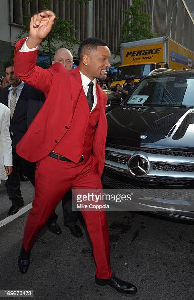"""Will Smith arrives to the premiere of """"After Earth"""" in Mercedes-Benz vehicles at Ziegfeld Theatre on May 29, 2013 in New York City."""
