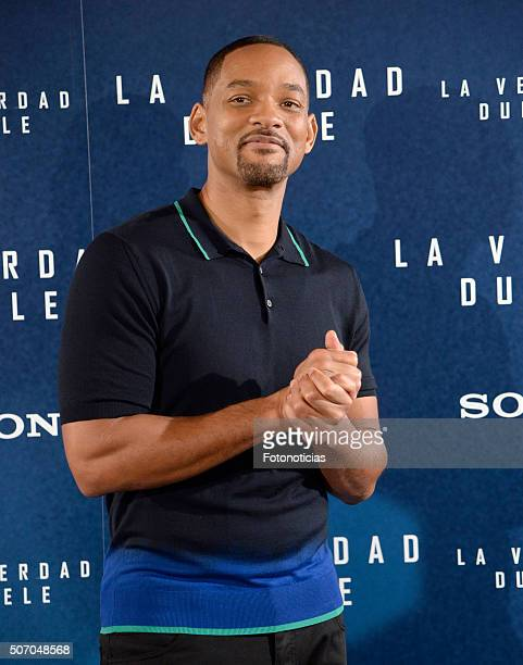 Will Smith attends a photocall for 'Concussion' at the Villamagna Hotel on January 27, 2016 in Madrid, Spain.