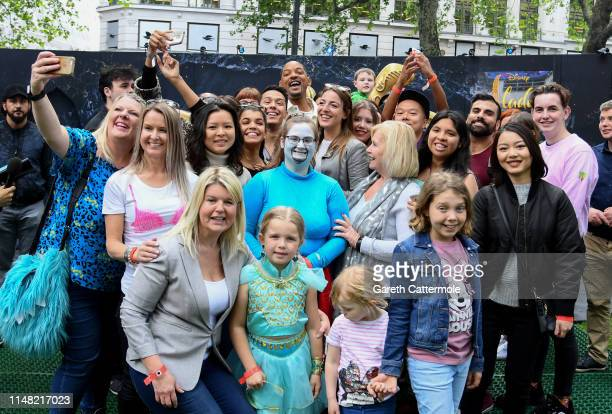 Will Smith attends the magic lamp stunt to the surprise and delight of fans to celebrate the release of Disney's Aladdin in Leicester Square on May...