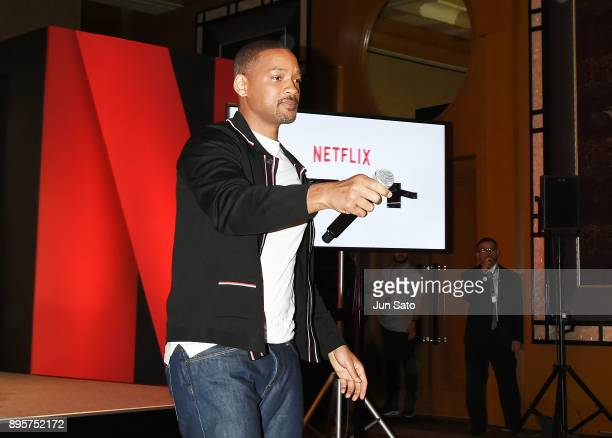 Will Smith attends the press conference for 'Bright' at the RitzCarlton on December 20 2017 in Tokyo Japan