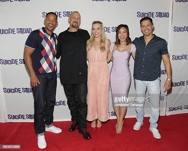 Will Smith, David Ayer, Margot Robbie, Karen Fukuhara and Jay Hernandez are seen at the 'SUICIDE SQUAD' Wynwood Block Party and Mural Reveal on July...