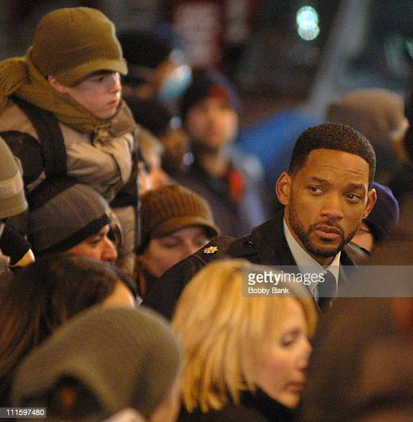 Will Smith during Will Smith on Location for I Am Legend in New York City January 24 2007 at Brooklyn Bridge in New York City New York United States