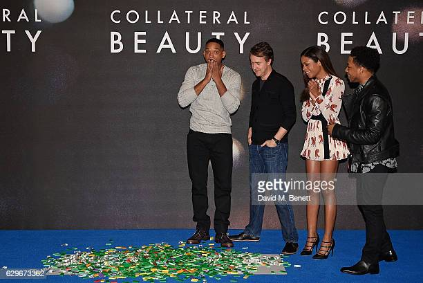Will Smith Edward Norton Naomie Harris and Jacobe Latimore attend a photocall for 'Collateral Beauty' at the Corinthia Hotel London on December 14...