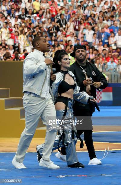 Will Smith Era Istrefi Nicky Jam perform during the 2018 FIFA World Cup Russia Final match between France and Croatia at Luzhniki Stadium on July 15...