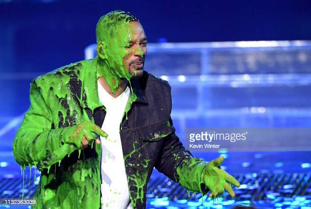 Will Smith gets slimed onstage at Nickelodeon's 2019 Kids' Choice Awards at Galen Center on March 23 2019 in Los Angeles California
