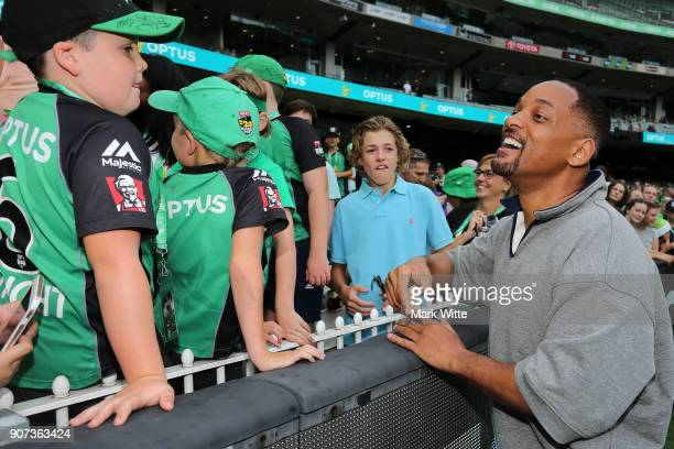 Will Smith interacts with fans during the Big Bash League match between the Melbourne Stars and the Sydney Thunder at Melbourne Cricket Ground on...