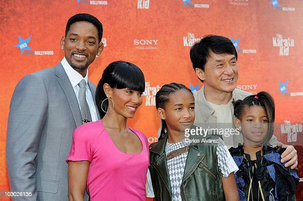Will Smith Jada Pinkett Smith Jaden Smith Jackie Chan and Willow Smith attend The Karate Kid premiere at Callao cinema on July 21 2010 in Madrid Spain