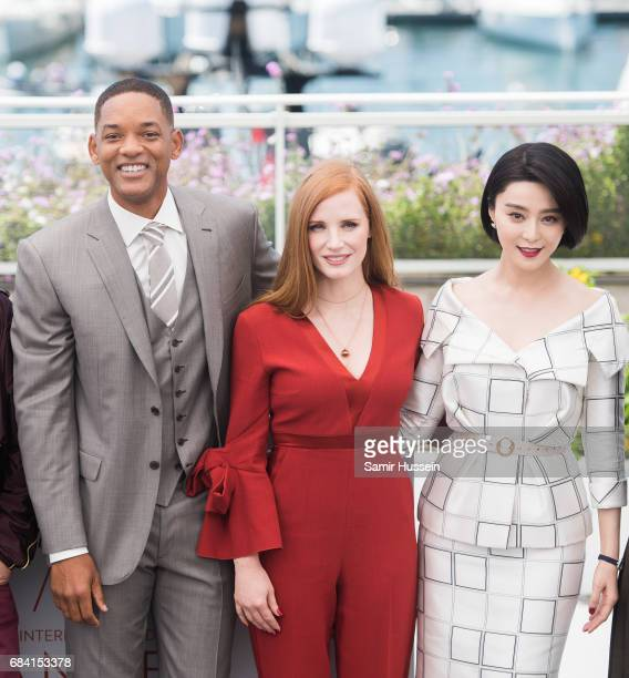 Will Smith Jessica Chastain and Fan BingBing attends the Jury photocall during the 70th annual Cannes Film Festival at Palais des Festivals on May 17...