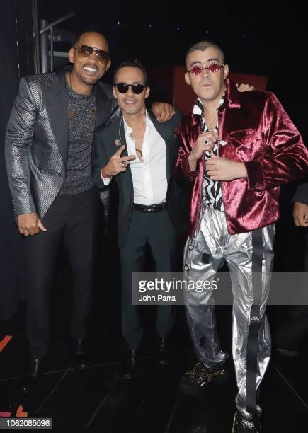 Will Smith Marc Anthony and Bad Bunny attend the 19th annual Latin GRAMMY Awards at MGM Grand Garden Arena on November 15 2018 in Las Vegas Nevada