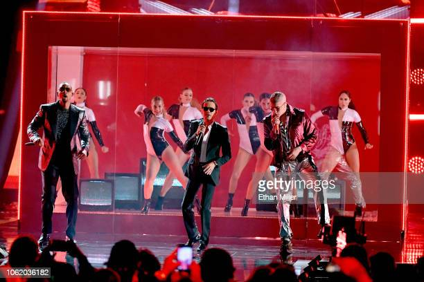 Will Smith Marc Anthony and Bad Bunny perform onstage during the 19th annual Latin GRAMMY Awards at MGM Grand Garden Arena on November 15 2018 in Las...