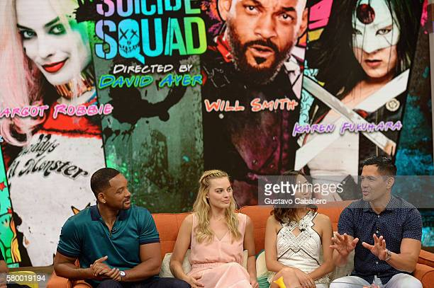 """Will Smith, Margot Robbie, Karen Fukuhara and Jay Hernandez on the set of Univisions """"Despierta America"""" to support the film """"suicide Squad"""" at..."""