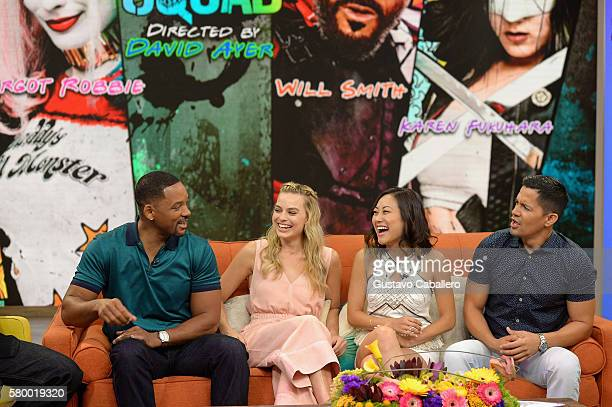 Will Smith Margot Robbie Karen Fukuhara and Jay Hernandez on the set of Univisions Despierta America to support the film suicide Squad at Univision...