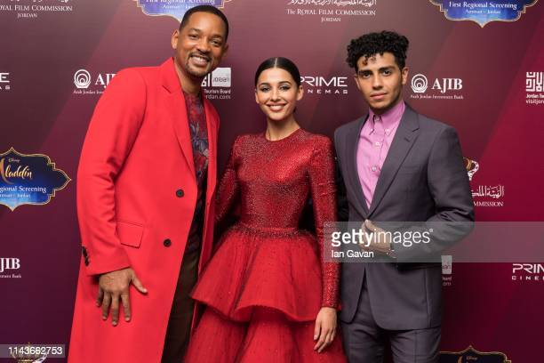 Will Smith Naomi Scott and Mena Massoud attend the VIP Screening of Aladdin with Jordanian Royal Family as part of the Aladdin Magic Carpet World...