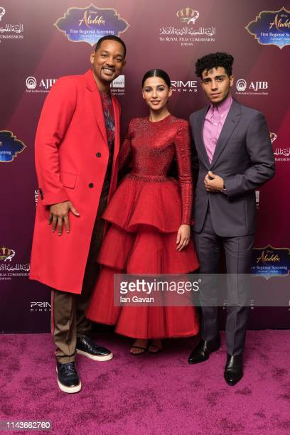 """Will Smith, Naomi Scott and Mena Massoud attend the VIP Screening of """"Aladdin"""" with Jordanian Royal Family, as part of the """"Aladdin"""" Magic Carpet..."""