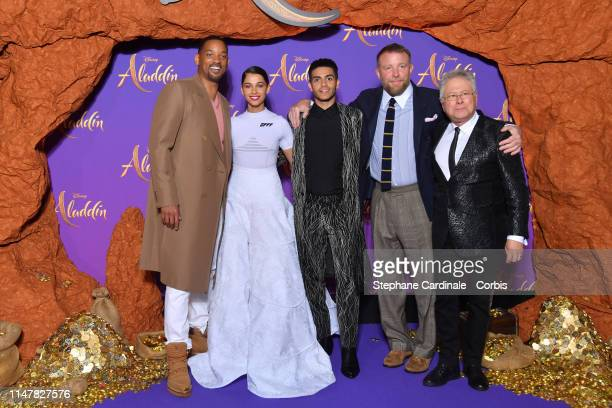 "Will Smith Naomi Scott Mena Massoud Guy Ritchie and Alan Menken attend the ""Aladdin"" Paris Gala Screening at Cinema Le Grand Rex on May 08 2019 in..."