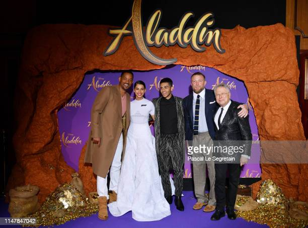 Will Smith Naomi Scott Mena Massoud Guy Ritchie and Alan Menken attend the Aladdin gala screening at Le Grand Rex on May 08 2019 in Paris France