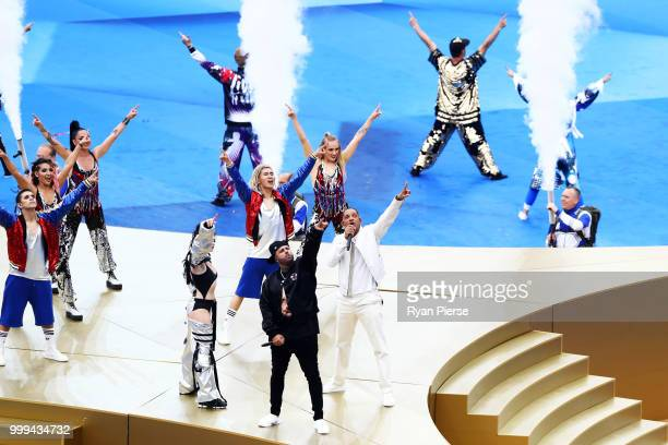 Will Smith Nicky Jam and Era Istrefi perform during the closing ceremony prior to the 2018 FIFA World Cup Final between France and Croatia at...