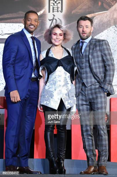 Will Smith Noomi Rapace and Joel Edgerton attend the premier event of 'Bright' at Roppongi Hills on December 19 2017 in Tokyo Japan