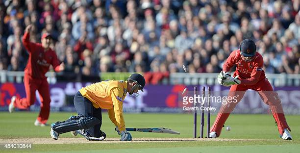 Will Smith of Hampshire is stumped by Jos Buttler of Lancashire during the Semi Final Natwest T20 Blast match between Hampshire and Lancashire...