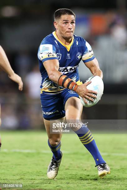 Will Smith of the Eels runs the ball during the round seven NRL match between the Parramatta Eels and the Brisbane Broncos at TIO Stadium, on April...