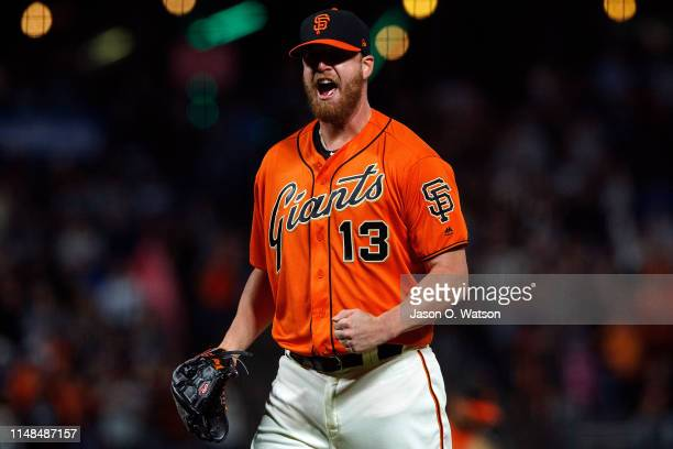 Will Smith of the San Francisco Giants celebrates after the game against the Los Angeles Dodgers at Oracle Park on June 7 2019 in San Francisco...