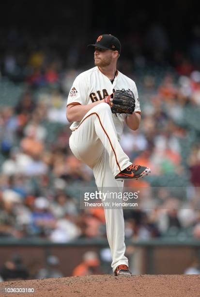 Will Smith of the San Francisco Giants pitches against the Atlanta Braves in the top of the ninth inning at ATT Park on September 12 2018 in San...
