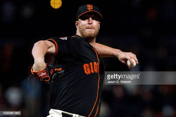 Will Smith of the San Francisco Giants pitches against the Colorado Rockies during the ninth inning at ATT Park on September 15 2018 in San Francisco...