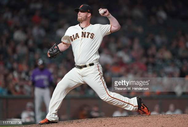 Will Smith of the San Francisco Giants pitches against the Colorado Rockies in the top of the ninth inning at Oracle Park on September 25 2019 in San...