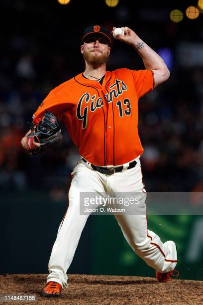 Will Smith of the San Francisco Giants pitches against the Los Angeles Dodgers during the ninth inning at Oracle Park on June 7 2019 in San Francisco...
