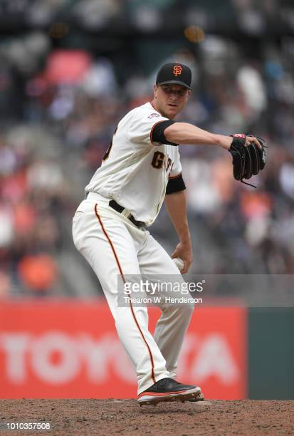 Will Smith of the San Francisco Giants pitches against the Milwaukee Brewers in the top of the ninth inning at ATT Park on July 29 2018 in San...