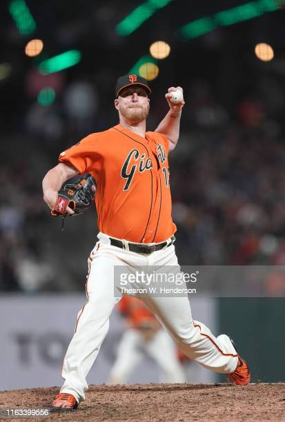 Will Smith of the San Francisco Giants pitches against the New York Mets in the top of the ninth inning at Oracle Park on July 19 2019 in San...