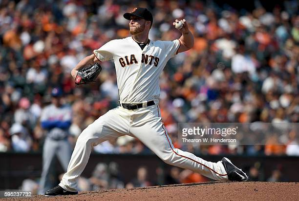 Will Smith of the San Francisco Giants pitches against the New York Mets in the top of the eighth inning at ATT Park on August 20 2016 in San...